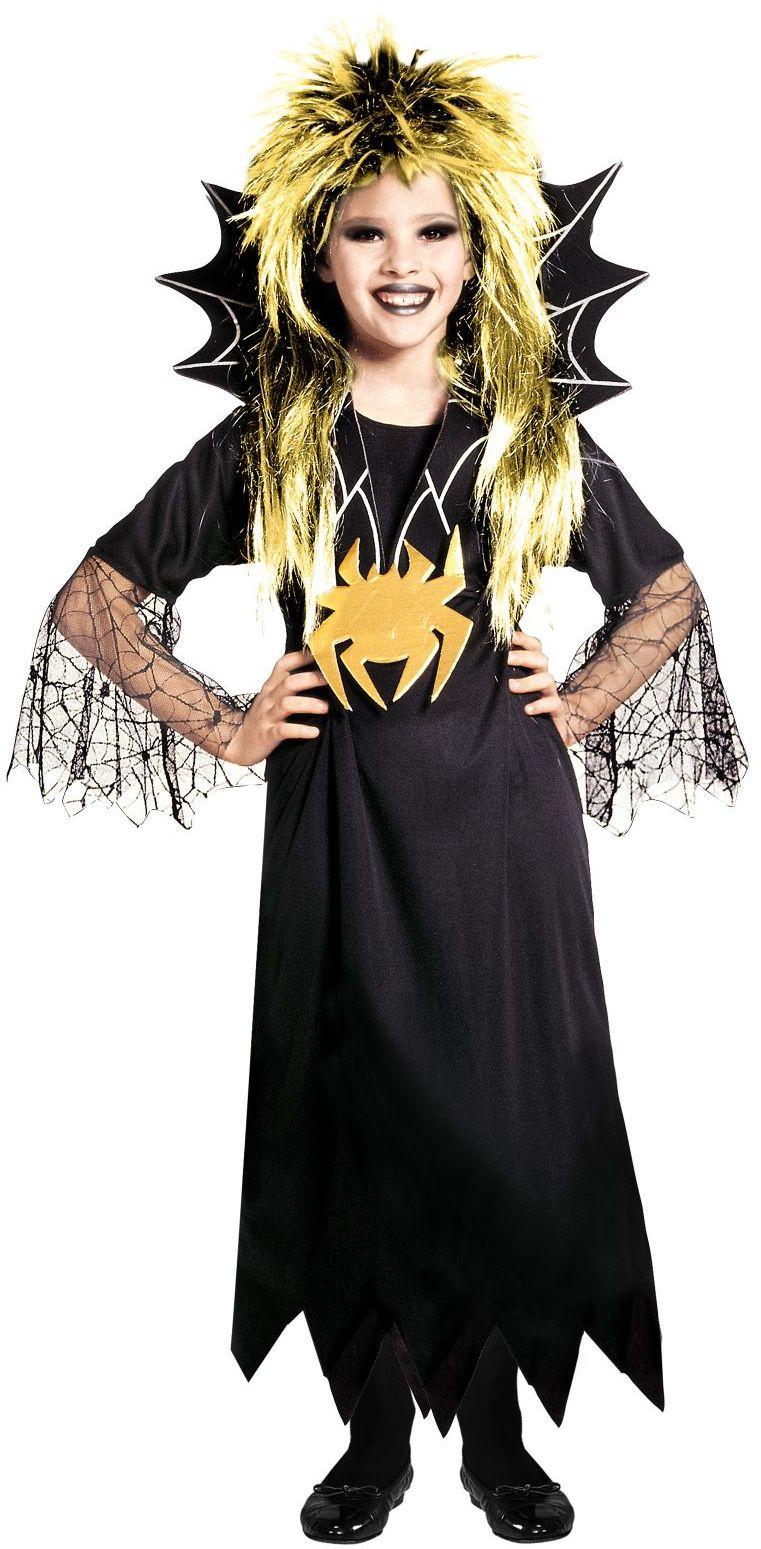 Zwarte spinnen jurk kind