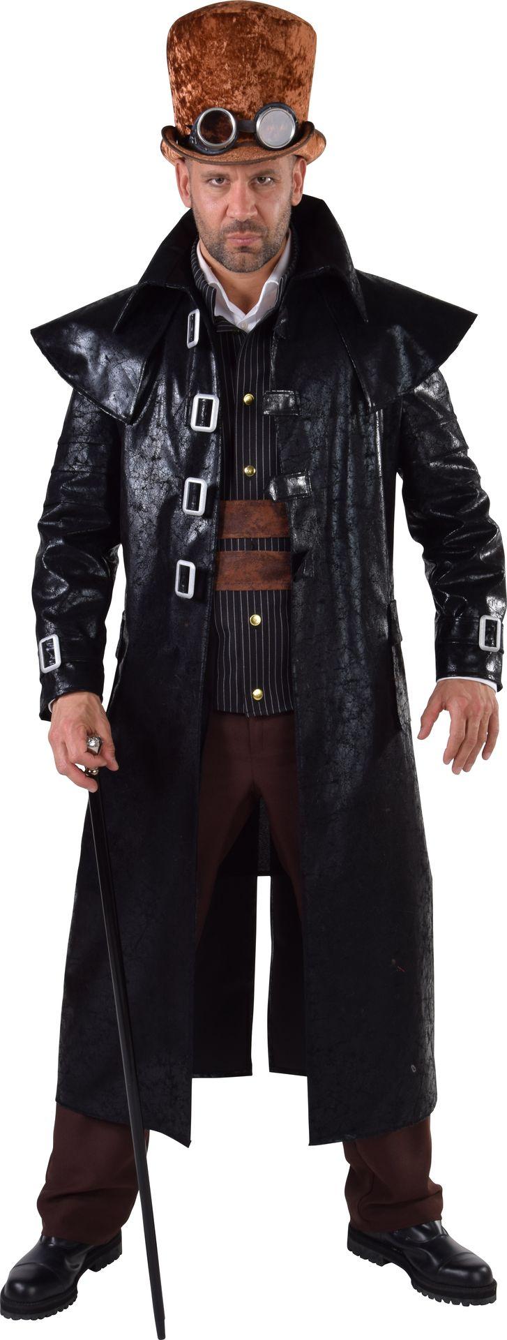 Zwarte steampunk mantel heren