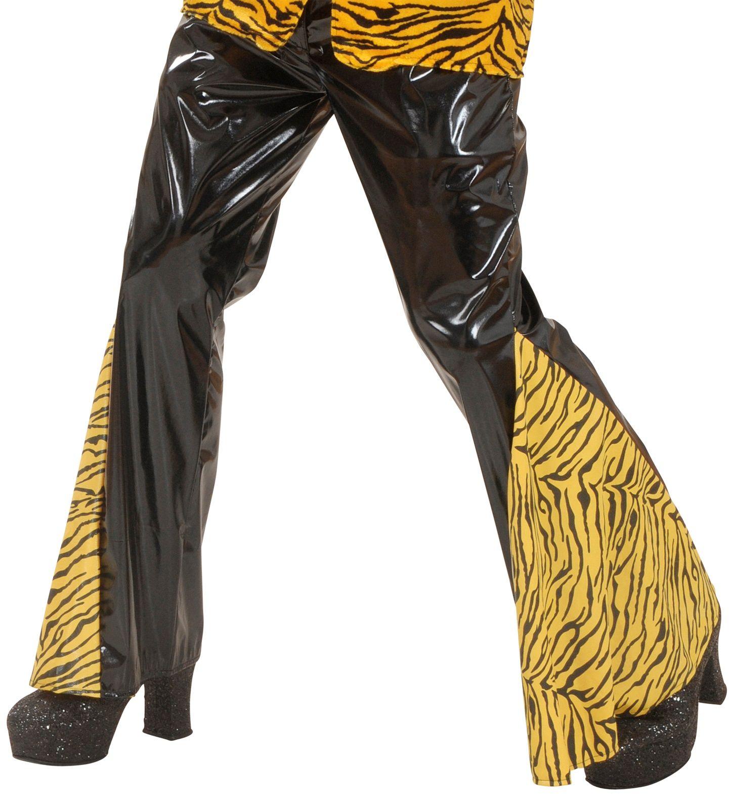 Zwarte tijger print vinyl broek