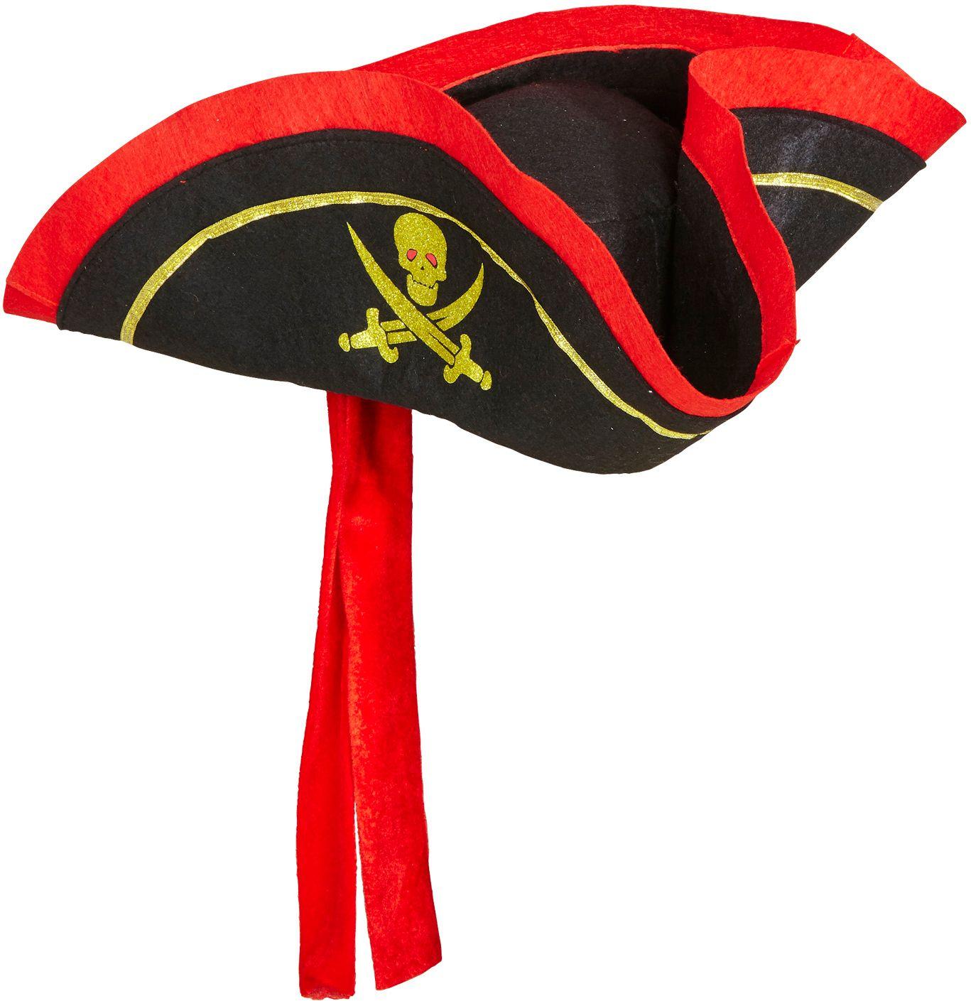 Zwarte tricorn hoed met hoofdband