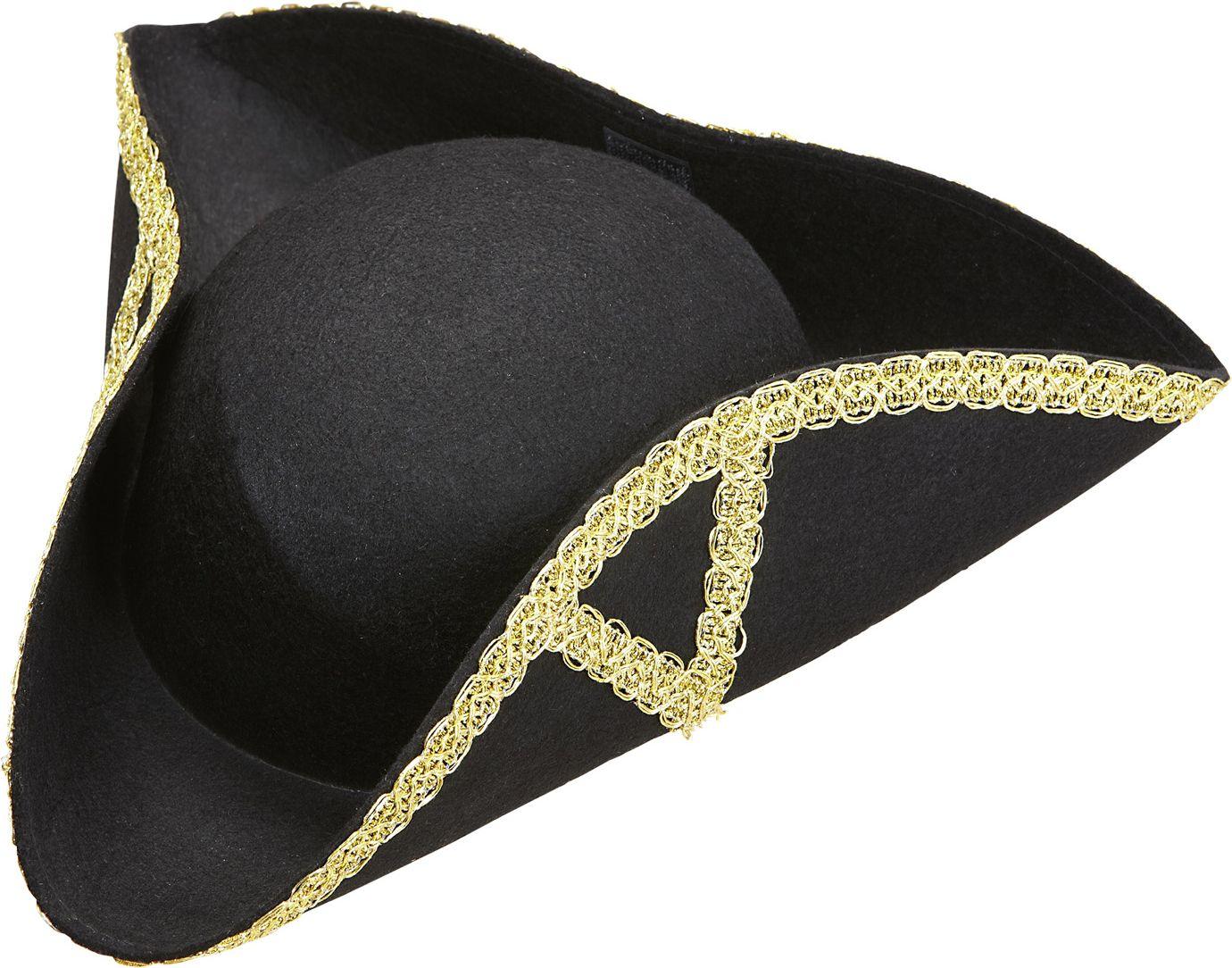 Zwarte tricorn piraat hoed
