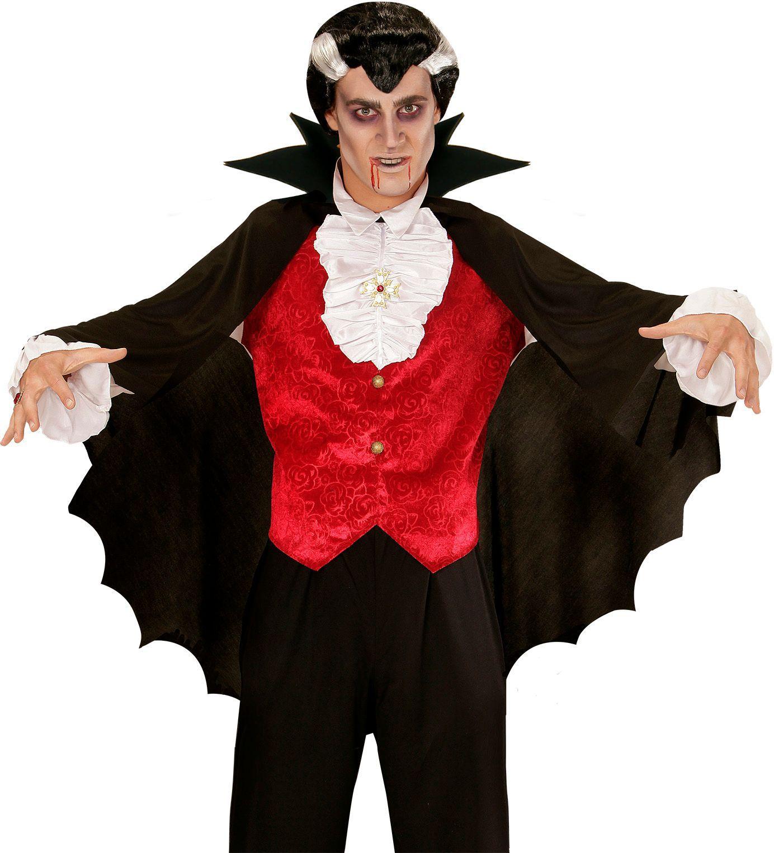 Zwarte vampier cape met kraag