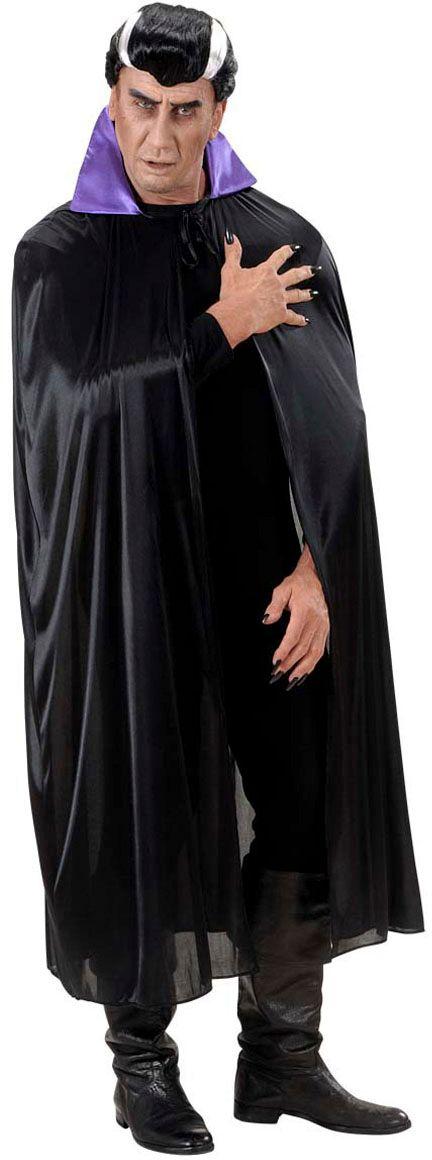 Zwarte vampier cape met paarse kraag
