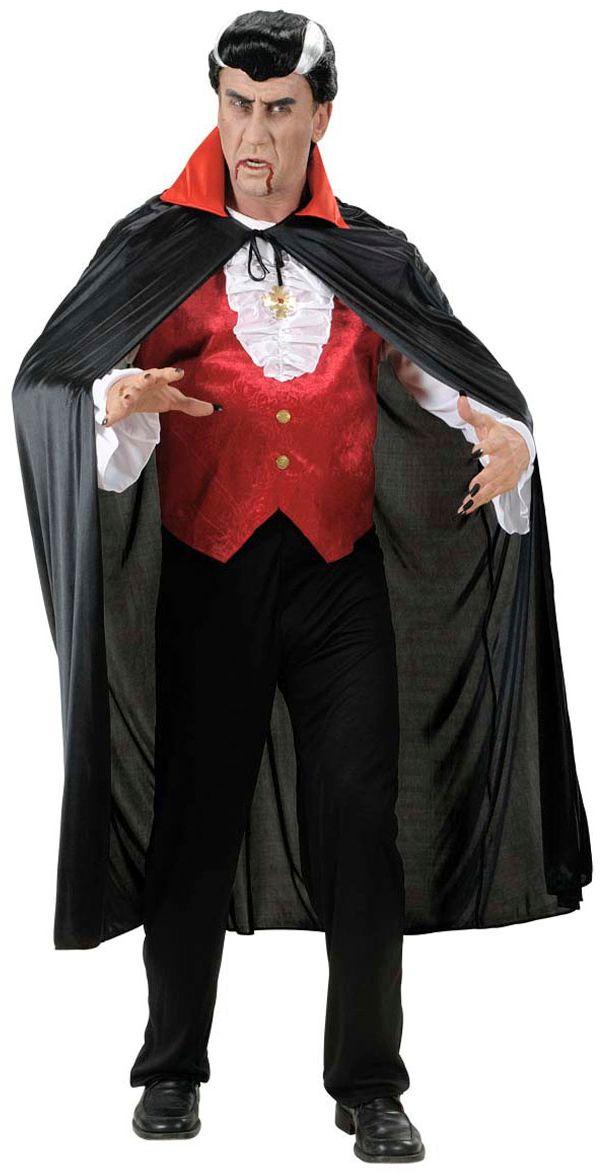 Zwarte vampier cape met rode kraag