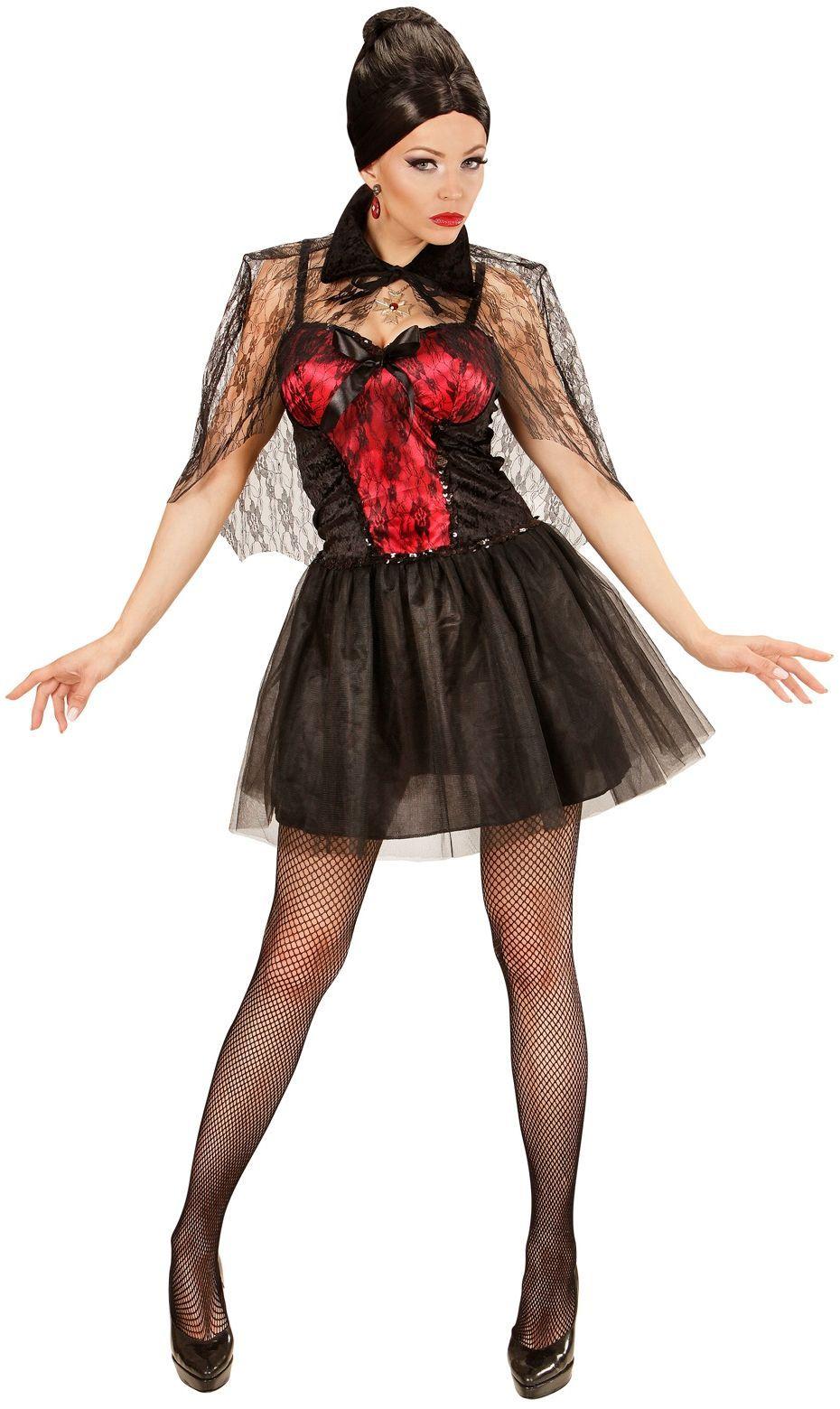 Zwarte vampier dames jurk