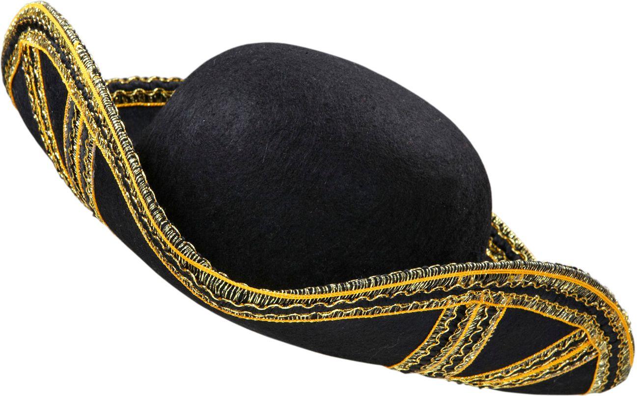 Zwarte venetiaanse tricorn hoed