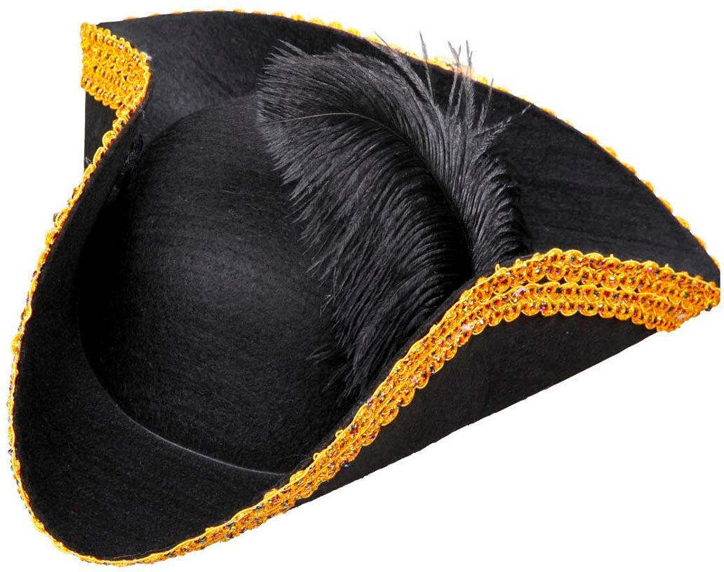 Zwarte venetiaanse tricorn hoed met gouden rand