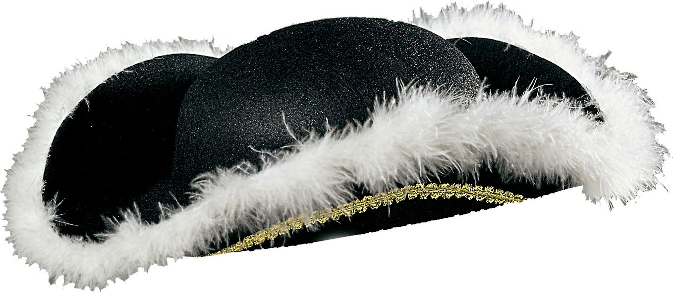 Zwarte venetiaanse tricorn hoed met marabou