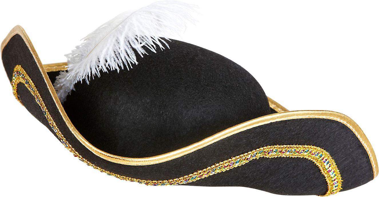 Zwarte venetiaanse tricorn hoed met veer