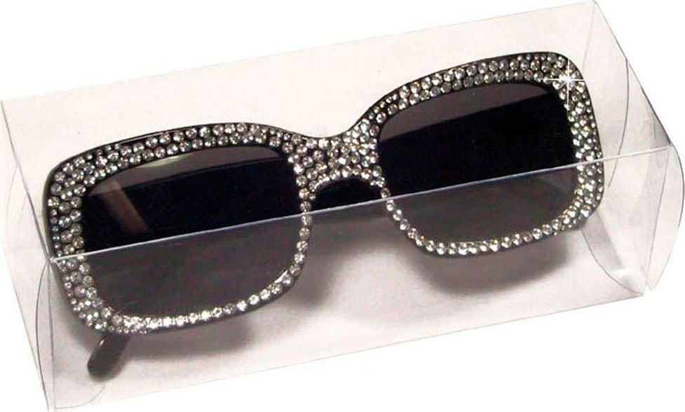 Zwarte vierkante bril met strass steentjes