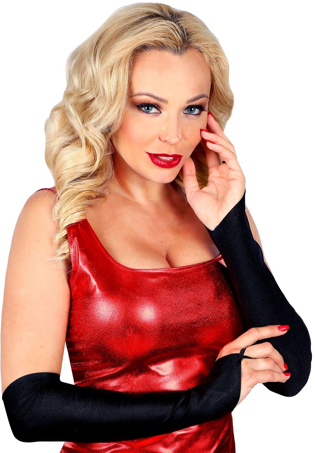 Zwarte vingerloze satijnen handschoenen