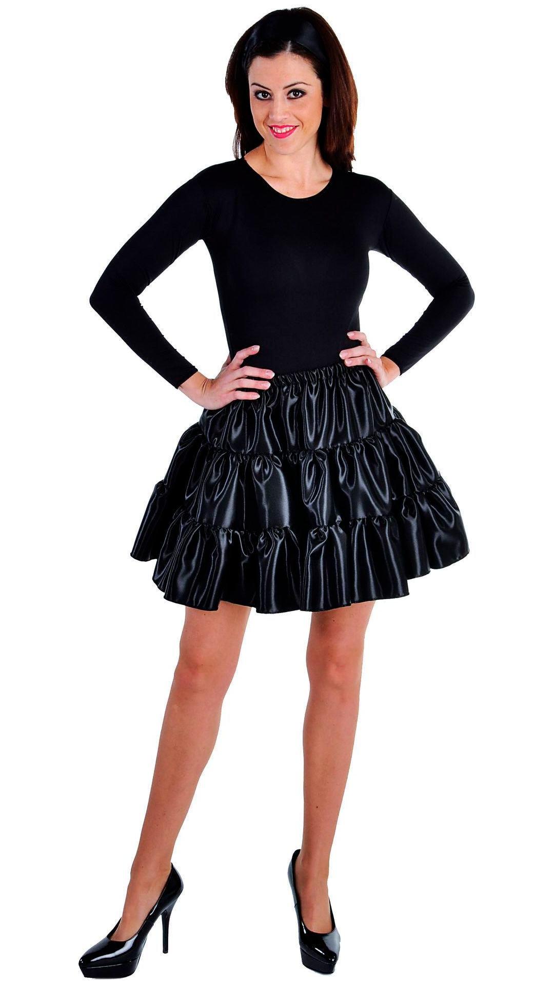 Zwarte volangen rok vrouwen kort