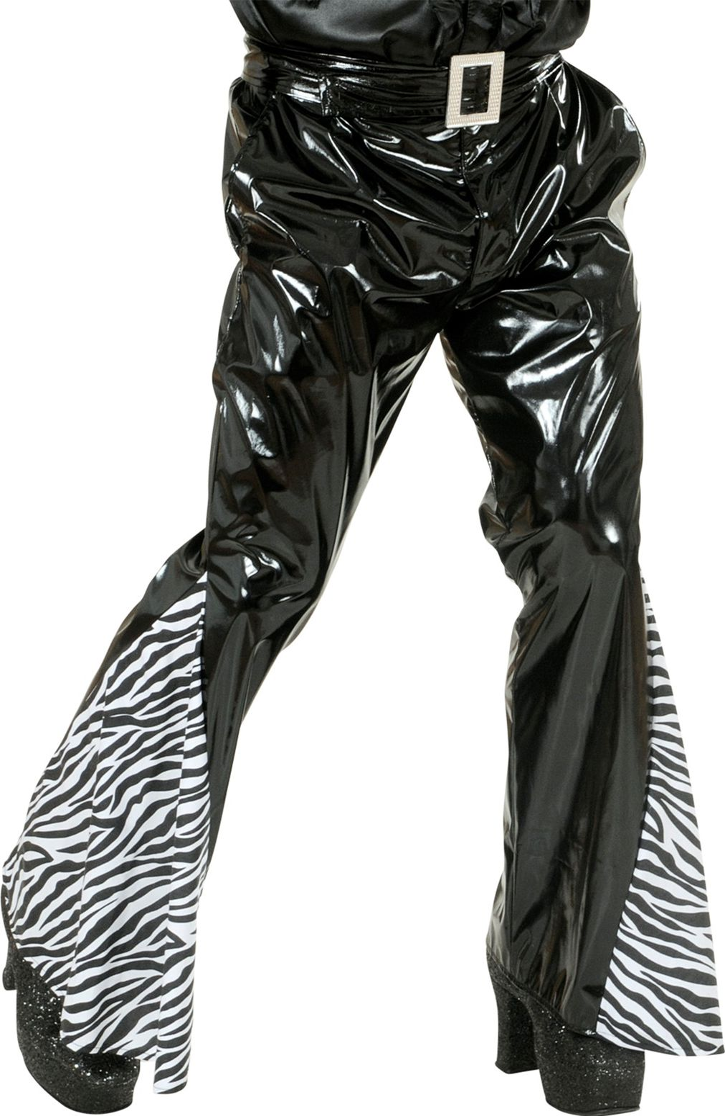 Zwarte zebra print vinyl broek